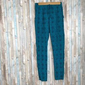 Aritzia S Teal Printed 100% Silk Drawstring Pants